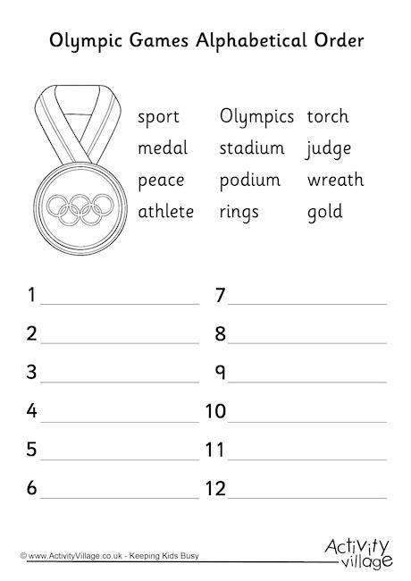 olympic alphabetical order worksheet