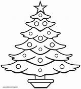 Tree Coloring Christmas Drawing Pages Line Simple Outline Printable Adults Draw Sketch Easy Drawings Trees Clipart Pencil Natal Bell Colouring sketch template