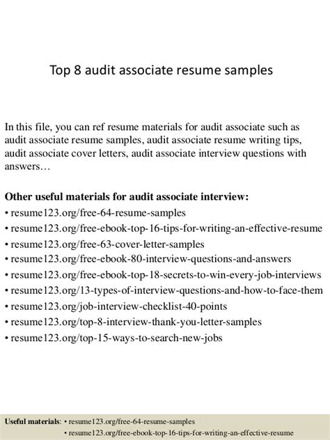 Audit Associate Resume Format by Top 8 Audit Associate Resume Sles