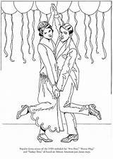 Roaring Twenties Coloring Flappers Pages Template Dover Publications sketch template