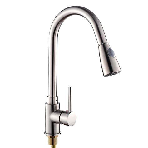 sink faucet kitchen unique design pull out spray brushed nickel finish kitchen 2259