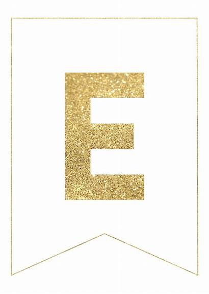 Banner Letters Gold Printable Letras Birthday Banners