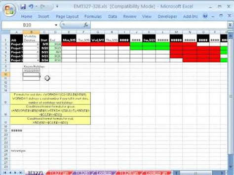 excel magic trick  gantt chart  weekends  holidays youtube