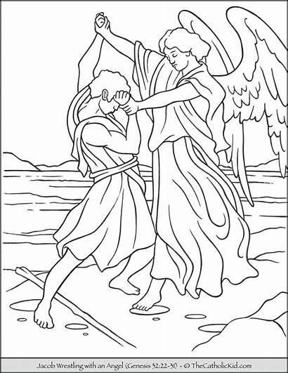 Jacob Coloring Wrestles Bible Angle God Thecatholickid