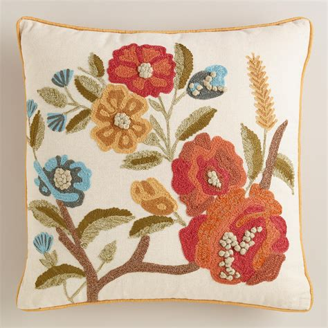 world market pillows floral embroidered throw pillow world market