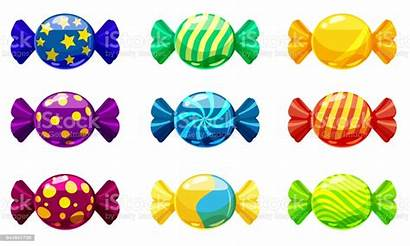 Cartoon Candies Different Colors Sweet Candy Isolated