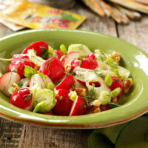 Combine the oil, chili paste, tamari or soy sauce, ginger, sugar and salt. Ravishing Radish Salad Recipe | Taste of Home