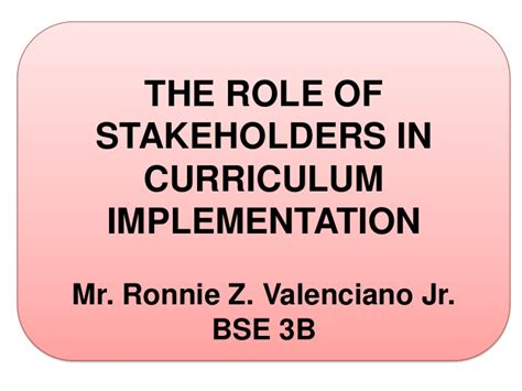 Role Of Stakeholders In Curriculum Development
