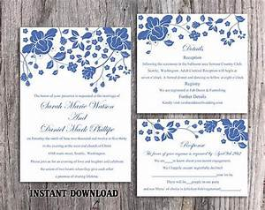 diy wedding invitation template set editable word file With free printable navy blue wedding invitations