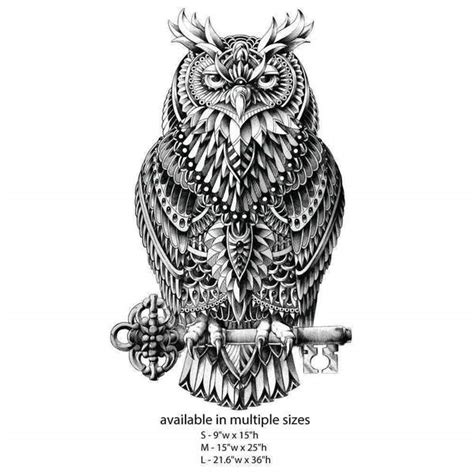 great horned owl wall sticker decal ornate bird animal