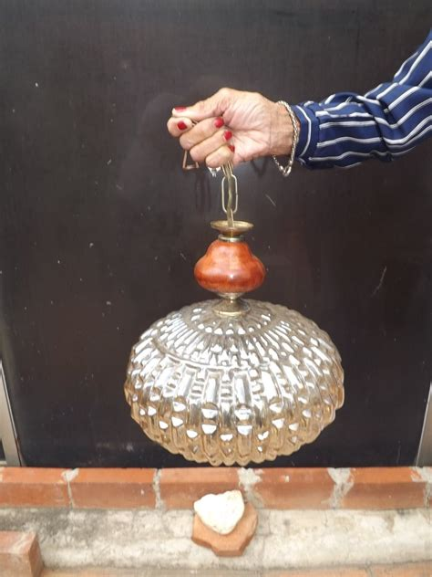 lampara de techo cristal de bohemia color ambar nacarado bs  en mercado libre