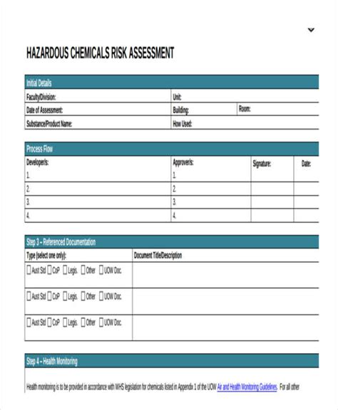 Chemical Risk Assessment Template by 19 Free Risk Assessment Forms Free Premium Templates