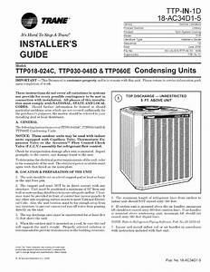Trane Air Conditioner  Heat Pump Outside Unit  Manual L0801741