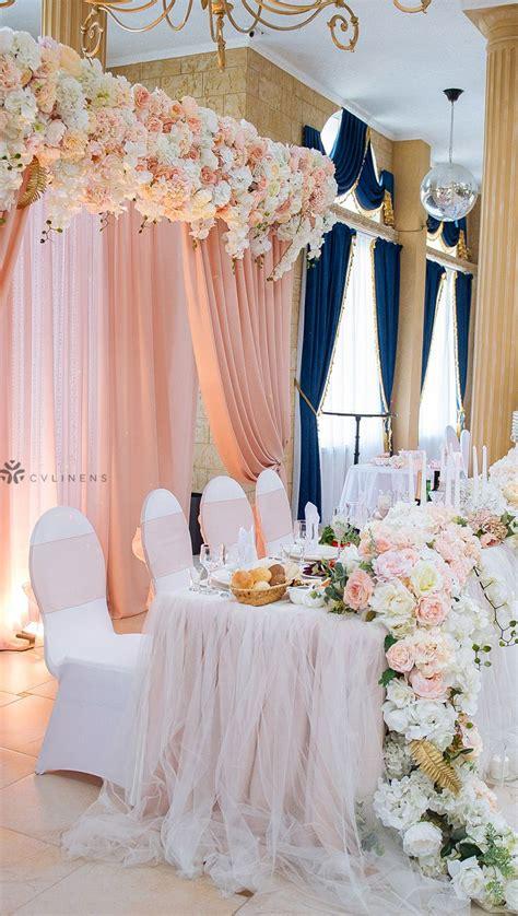 Elegant blush white and navy wedding reception decor