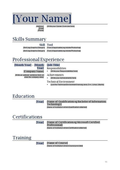 free fillable resume templates resume ideas