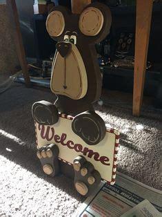 cute wood bear  sign craft crafts spring