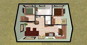 """cozyhomeplans.com 432 sq ft Small House """"Firefly"""" 3D Top ..."""
