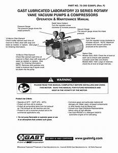 Gast 0523 Series Lubricated Laboratory Vacuum Pumps And Compressors User Manual