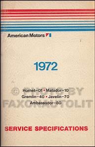 1972 Amc Repair Shop Manual Original Amx Javelin Sst