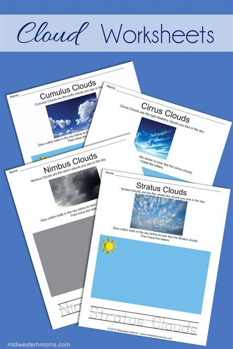 four types of clouds preschool worksheets free