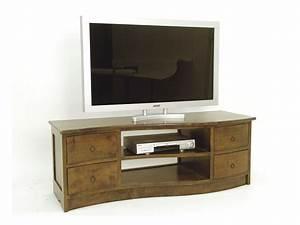Meuble Tv Bois Massif Moderne : meuble tv moderne en vague moka 4 tiroirs 2 niches meubles bois massif ~ Teatrodelosmanantiales.com Idées de Décoration