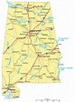 Large detailed road map of Alabama with cities   Vidiani ...