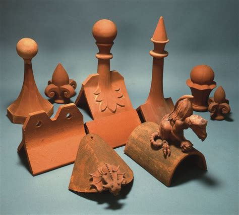 selection  handmade clay roof finials finials focal