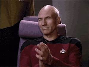 Reaction gif tagged with clapping, Patrick Stewart, Star Trek