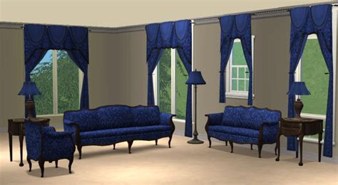 Blue Damask Livingroom Sets