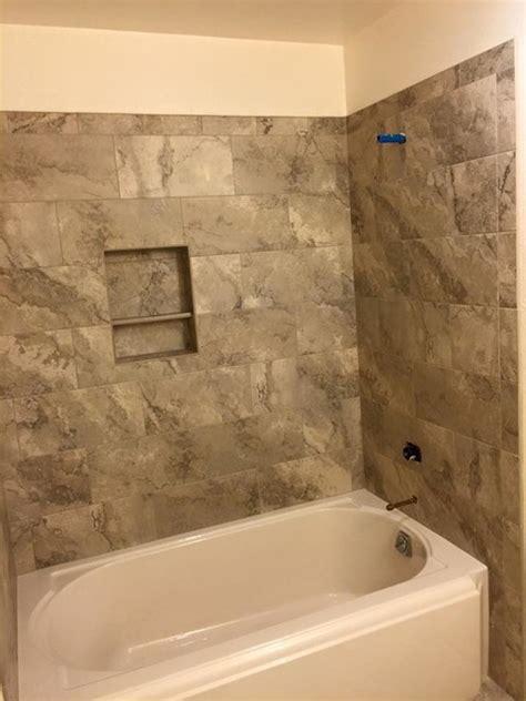 12x24 porcelain tub shower enclosure traditional