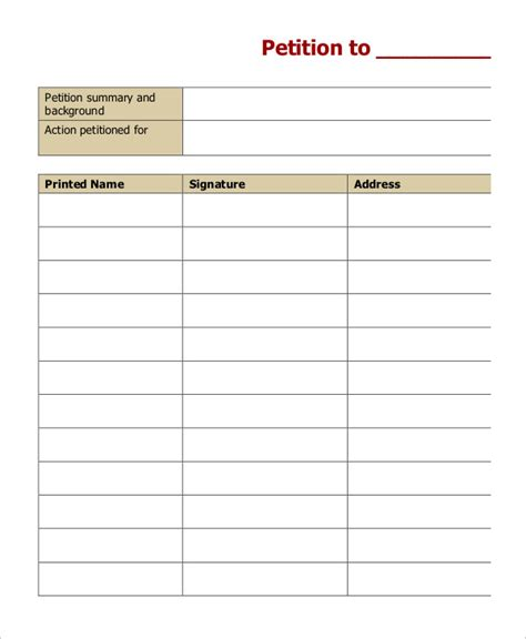 Petition Template To Print by 5 Petition Templates Free Pdf Word Documents