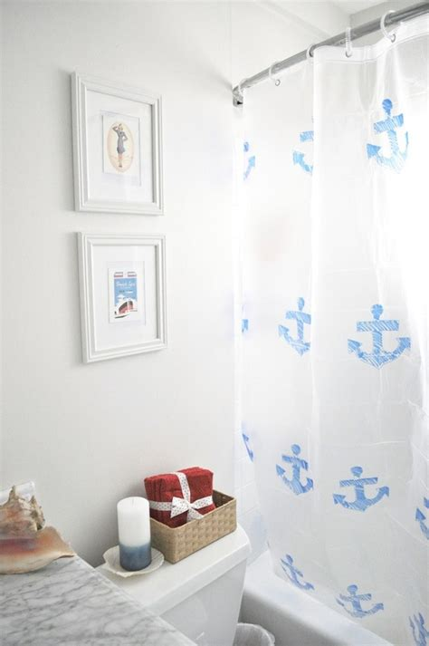 nautical shower curtain shower curtain diys to rev your bathroom
