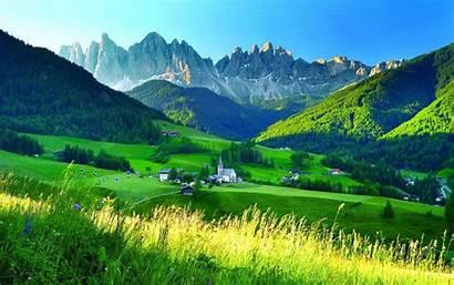 Mountain Sky Grass Alps Flowers Summer Village