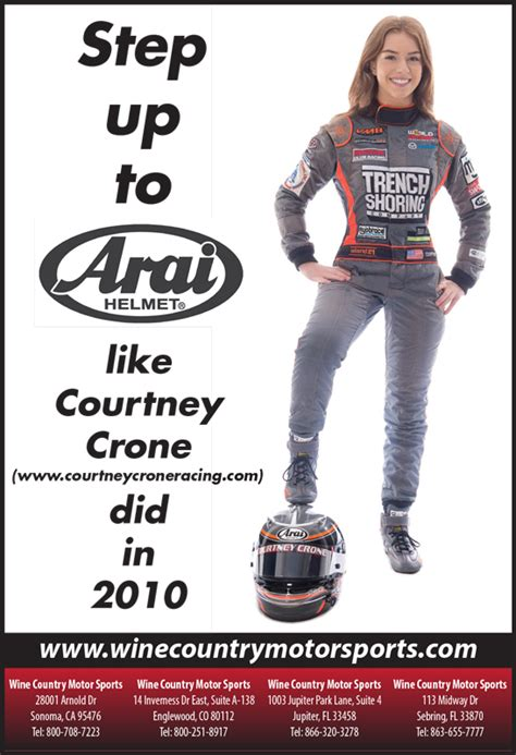 courtney crone featured   arai helmet print ad campaign
