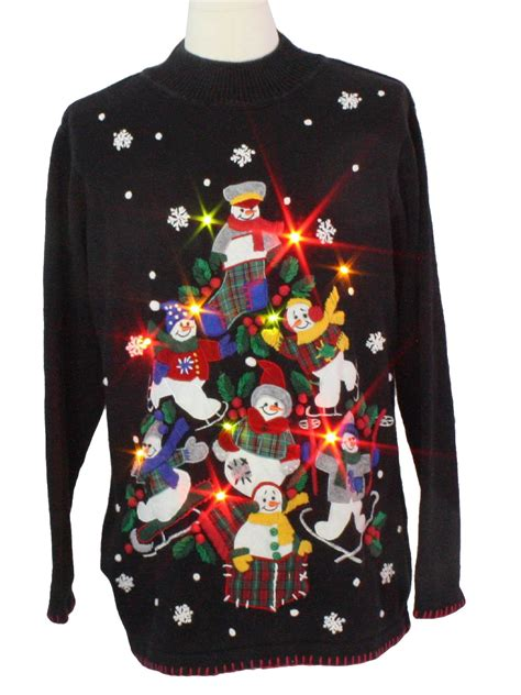 Light Up Ugly Christmas Sweater Bp Design Unisex Black