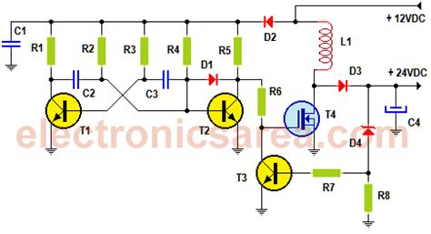 12vdc to 24vdc step up converter electronics area