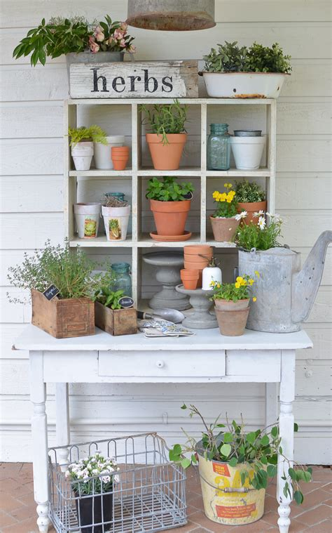 Vintage Farmhouse Images by Farmhouse Style Potting Bench
