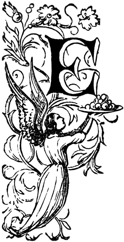 decorative letter   angel holding plate clipart