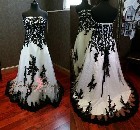 new gothic black and white wedding dresses custom made