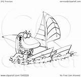 Catamaran Shark Clip Outline Cartoon Royalty Sailing Illustration Toonaday Rf Clipart Leishman Ron Line sketch template