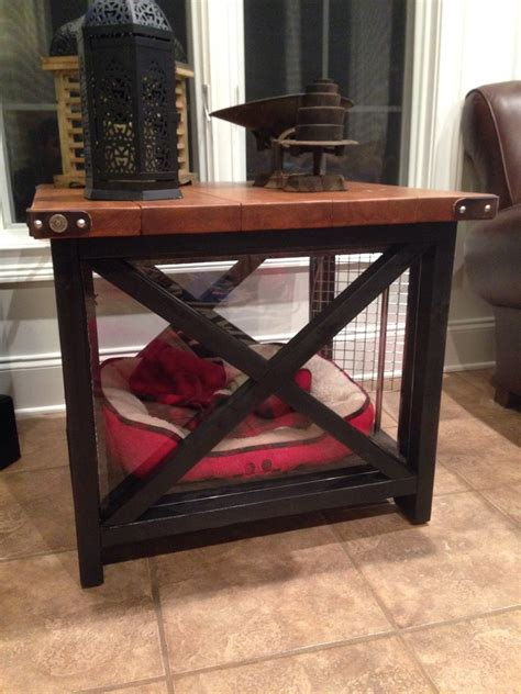 ana white rustic   table   dog crate diy projects