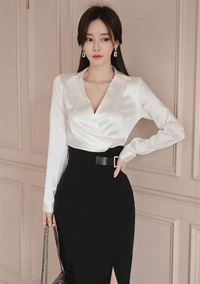 Satin Blouse Skirt Pias Silk Wife Pencil