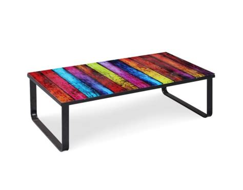 table basse en verre planches color es