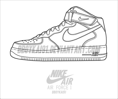 Coloring Nike Air 1 by Nike Air 1 Mid Template By Bboykai91 On Deviantart