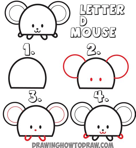 draw  cartoon mouse   letter  shape