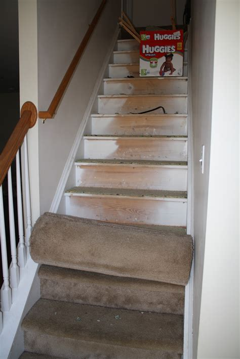 carpet stairs half hardwood pulling nails padding tack strips crafty staples finding hour took minutes taken another left