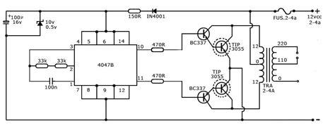 Watt Inverter Circuit Using Gadgetronicx