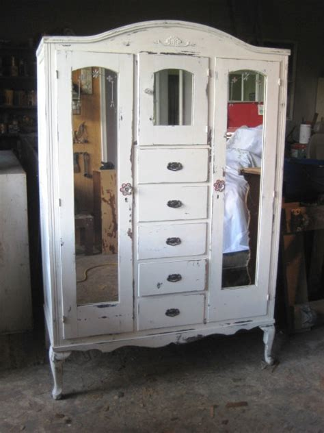vintage armoire distressed white finish shabby chic