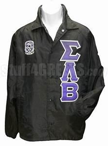 sigma lambda beta greek letter line jacket with crest With windbreaker greek letters