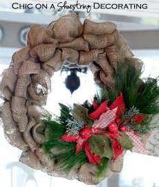 chic on a shoestring decorating burlap christmas wreath tutorial